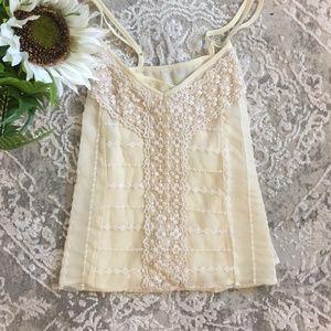 American Eagle Cream Embroidered Crochet Cami